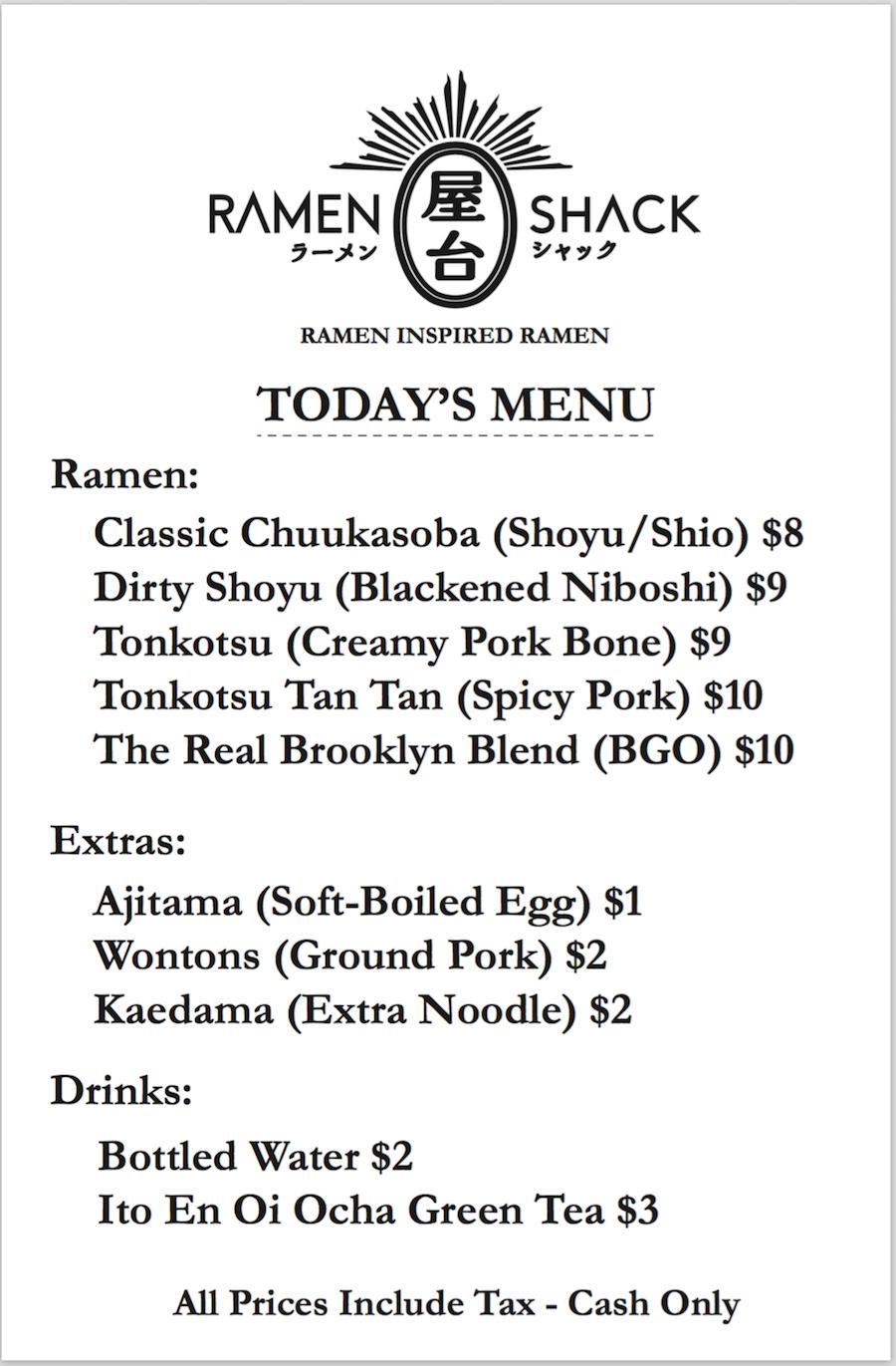 ramen shack menu