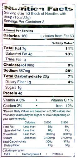 sapporo ichiban ramen nutrition info